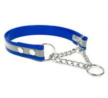 Mystique® Biothane obojok polosťahovací 25mm reflex modrá gold 40-50cm