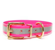 Mystique® Biothane collare classico 25mm reflex rosa gold 45-53cm ottone