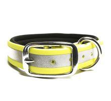 Mystique® Biothane collare deluxe neoprene 25mm beta reflex neon giallo 45-53cm