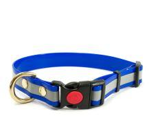 Mystique® Biothane collari safety click 25mm reflex blu gold 30-40cm ottone