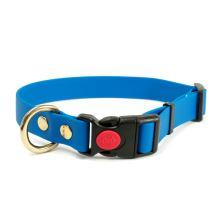 Mystique® Biothane collari safety click 19mm azzuro 40-50cm ottone