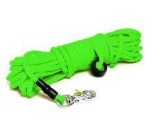 Mystique® Nylonové stopovacie vodítko guľaté 7mm neon zelená 12,5m vyp. karabina