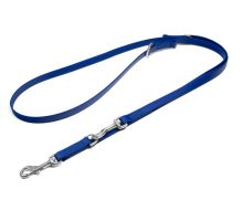 Mystique® Biothane laisses réglable 16mm bleu 300cm inoxydable mousqueton couture