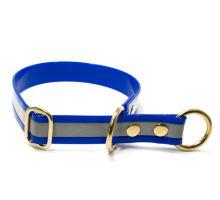 Mystique® Biothane collari con fermo 25mm reflex blu gold 50cm ottone