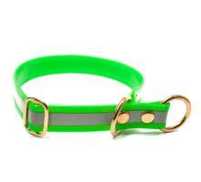 Mystique® Biothane collari con fermo 25mm reflex verde gold 50cm ottone