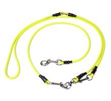 Mystique® Hunting Profi laisse multipositions 6mm neon jaune L 280cm avec mousqueton